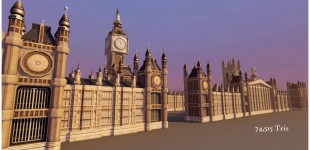 The London Parliament Building. I took it from a blockout model to the final version, and created most of the textures used on it.
