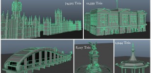 Wireframes and triangle counts of some of the buildings I helped create for Cars 2.