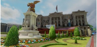 I worked on the Buckingham Palace, Queen's Pedestal, and Cars Statue in this scene.