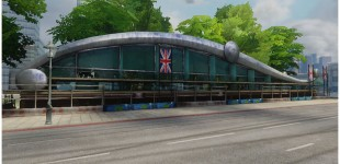 I created the building in this scene from a Pixar concept, the London Track Race Pits.